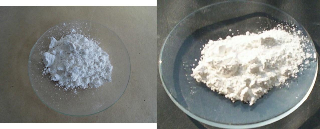 左:氧化鈣 右:氫氧化鈣