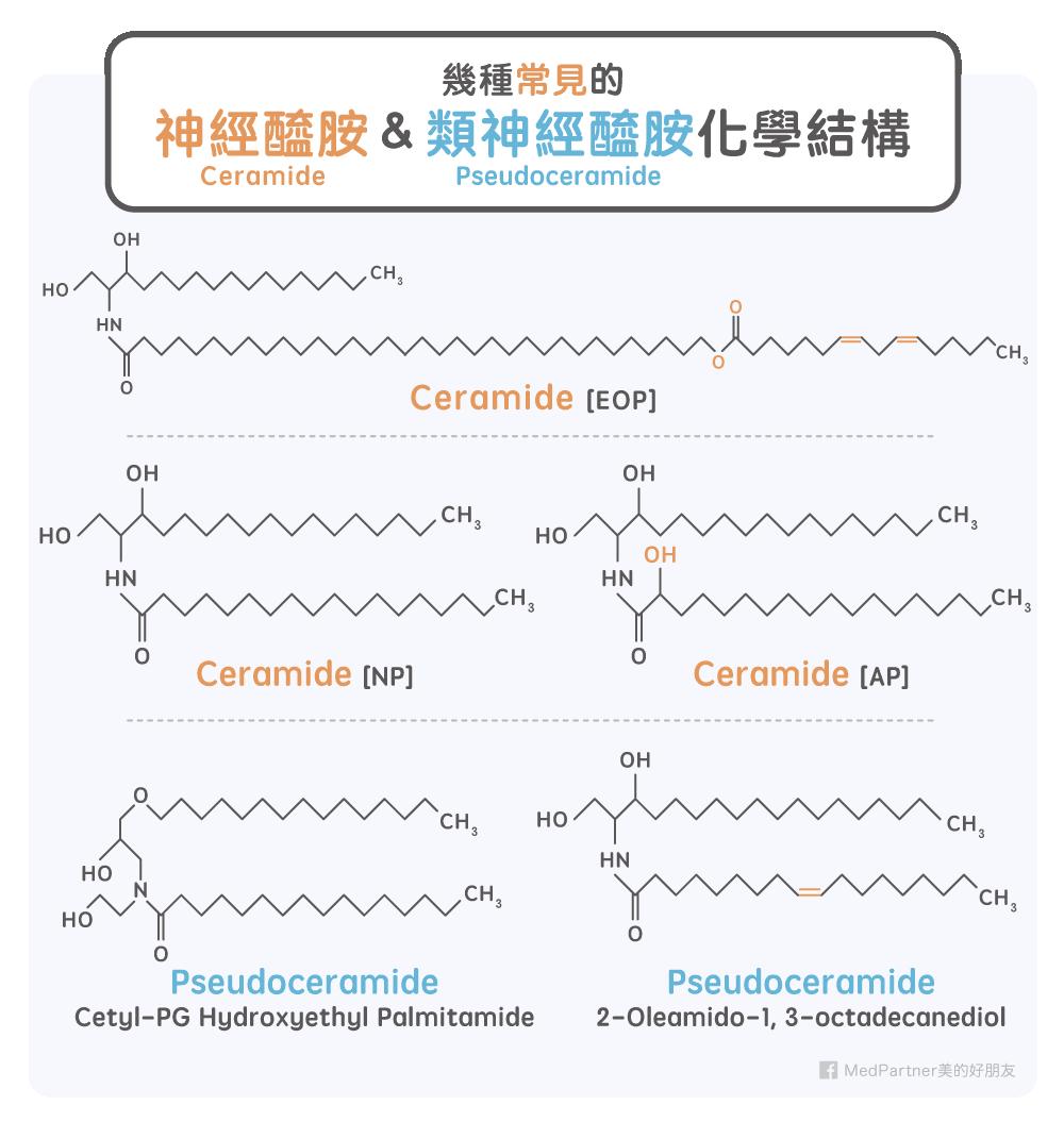 常見神經醯胺與類神經醯胺化學結構