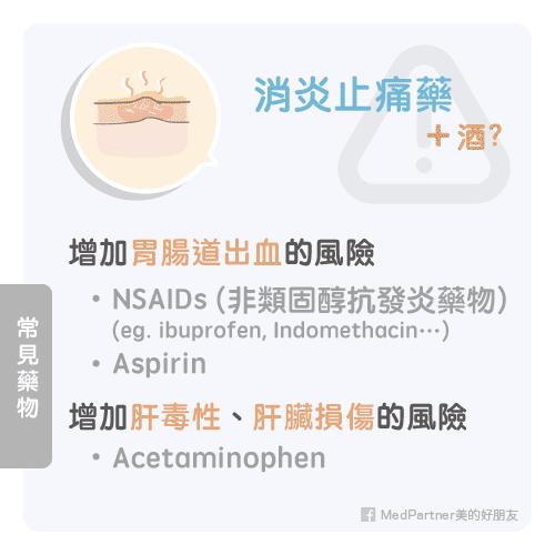 消炎止痛藥與酒的交互作用