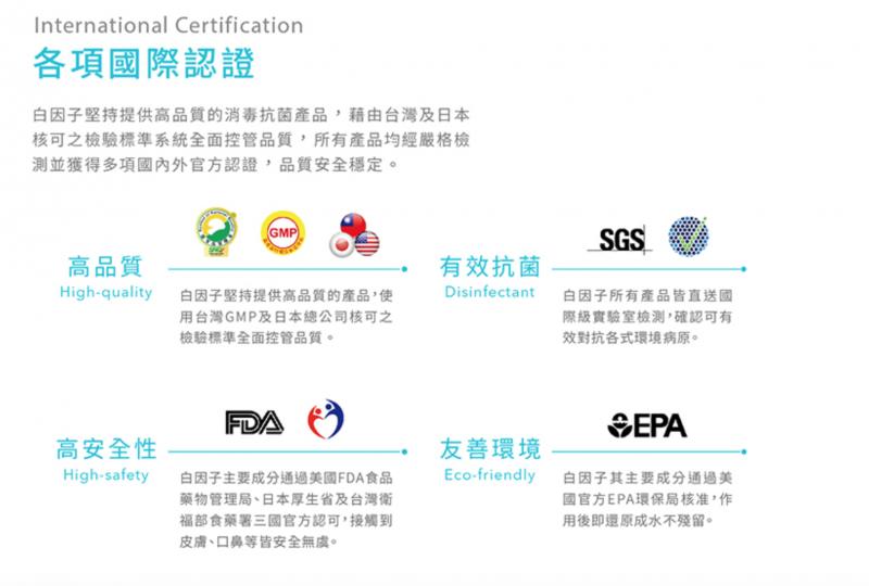 白因子官方網站截圖:違法使用美國FDA的logo