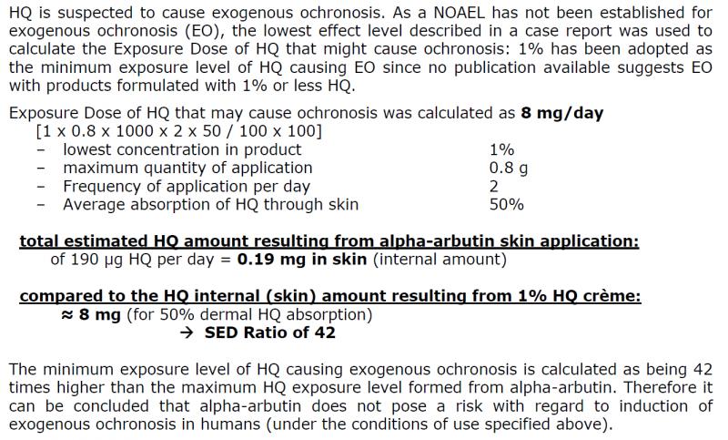 SCCS對2% α-Arbutin相較於1% Hydroquinone(HQ)的風險評估與計算