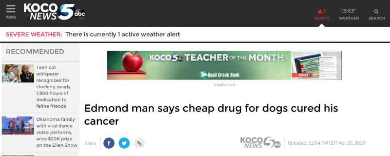 人吃狗驅蟲藥治癌的美國媒體內容